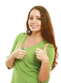 A woman with a thumbs up sign — Stock Photo