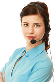 A young customer service girl with a headset — Stock Photo