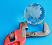 Caliper with earth — Stock Photo