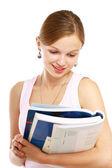 Student girl reading her books — Stock Photo