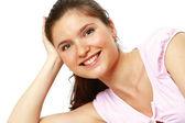 Närbild av glad ung kvinna — Stockfoto