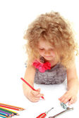 Preschool girl drawing — Stock Photo
