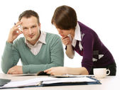 Two colleagues solving problem — Stock Photo
