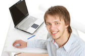Young architect at his workplace — Stock Photo