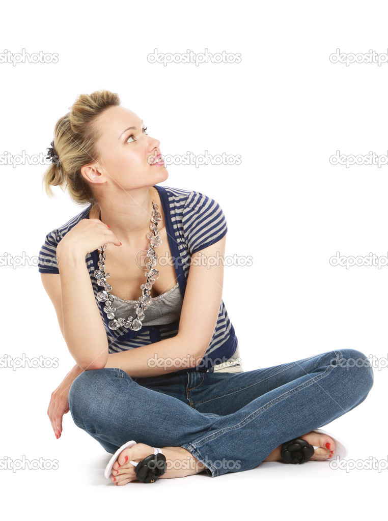 A Young Woman Sitting On The Floor Stock Photo 40368843