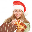 Young woman with Santa hat — Stock Photo