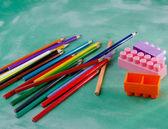 Pencil and mini construction blocks — Stock Photo