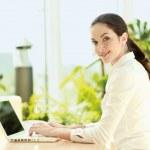 Businesswoman work on laptop. — Stock Photo #40381621