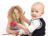 Happy little children drawing — Stock Photo