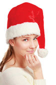 Portrét krásné ženy nosí klobouk santa — Stock fotografie