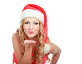 Smiling young woman in Santa hat — Stock Photo