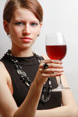 Portrait of a beautiful woman with a wineglass — Foto Stock
