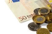 деньги: евро монеты и счета — Стоковое фото