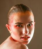 Güzel parlak dudak makyaj — Stok fotoğraf