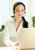 Customer service girl working — Stock Photo