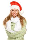 Mujer con un sombrero de santa — Foto de Stock