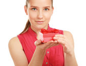 Woman holding gift box — Stock Photo