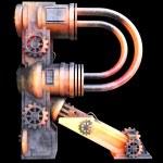 mechanische Alphabet aus Eisen gefertigt — Stockfoto