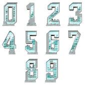 Siffror från noll till tio i form av urban byggnader — Stockfoto