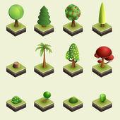 árboles y arbustos. — Vector de stock