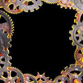 Rahmen der alten metallische Zahnräder — Stockfoto