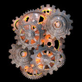 Mechanical gears of rusty metal with a red light back — Stock Photo