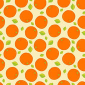 Seamless background with oranges and leaves. — Stock Vector