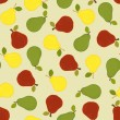 Seamless background with colored pears — Stockvectorbeeld