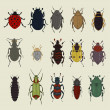 Colorful vector set of small beetles — Stock Vector