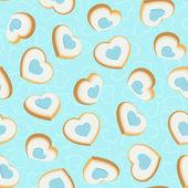 Nahtlose hintergrund mit cookies in form von herzen — Stockvektor