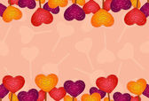 Horizontal seamless background with colored candies in the shape of heart — Stok Vektör