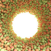 Circular tunnel of green and red apples — Stok fotoğraf
