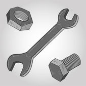 Bolt, nut and spanner — Stock Vector
