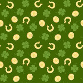 Gold coins, leaves clover and horseshoe — Stock Vector