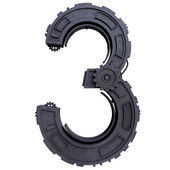 Number three of dirty metal black — Stock Photo