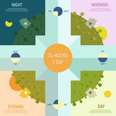 Elements of infographics with the time of day. — Stock Vector