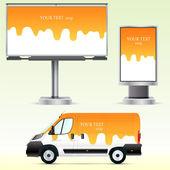 模板户外广告或公务身份上的汽车、 广告牌、 城市之光 — 图库矢量图片