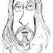 Pencil drawing of John Lennon.  Caricature. — Stock Photo