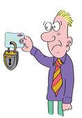 Man holding locked credit card — Stock Photo