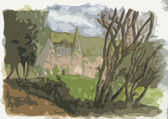 Watercolor, in stencil style, of Scottish manor house — Stock Photo