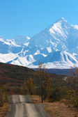 Alaska Range and hilly road in Denali National Park — Stock Photo