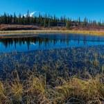 Mt. McKinley in NP Denali, from a lake near Wonder Lake campsite — Stock Photo