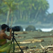 Surf photographer in action at Costa Rican beach, Pavones — Stock Photo