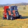Tractor Makes Bales Of Hay — Stock Photo