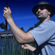 Man Fly Fishing — Stock Photo
