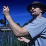 Man Fly Fishing — Stock Photo