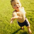 Boy Running Through Grass — Foto de Stock