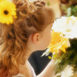 Flower Girl Smelling Bouquet — Stock Photo