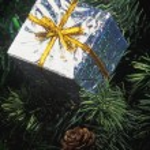 Metallic Box Christmas Tree Decoration — Stock Photo