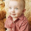 Stock Photo: Cute Baby With Teddy Bear